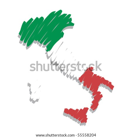 map flag Italy - stock vector