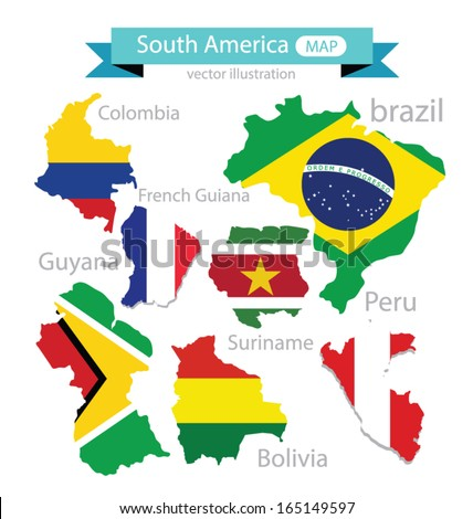 Map. Flag of South america. vector Illustration. - stock vector