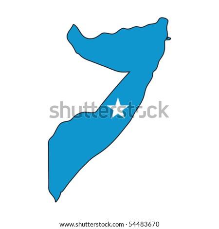 map flag Somalia - stock vector