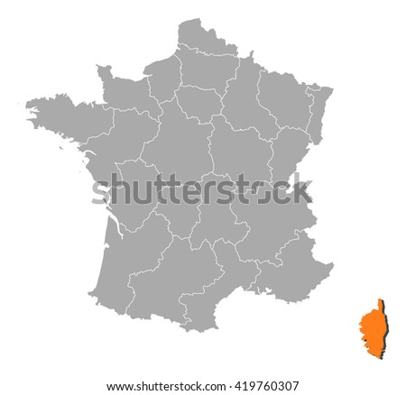 Map - France, Corsica - stock vector