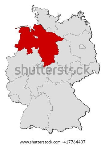 Map - Germany, Lower Saxony - stock vector