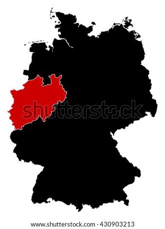 Map - Germany, North Rhine-Westphalia - stock vector