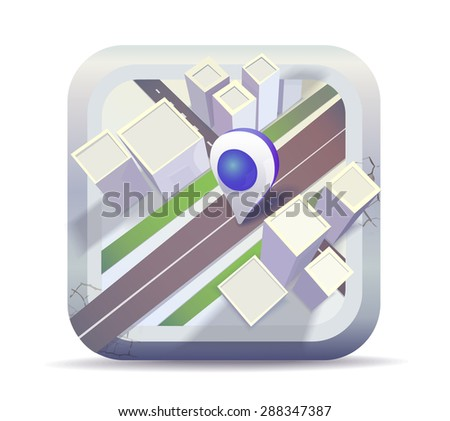 Map icon, blue pointer - stock vector