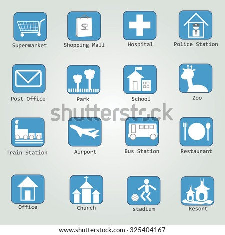 map icon legend symbol sign  element - stock vector