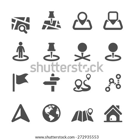 map icon set 2, vector eps10. - stock vector