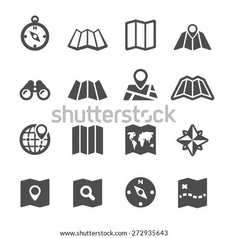 map icon set, vector eps10. - stock vector