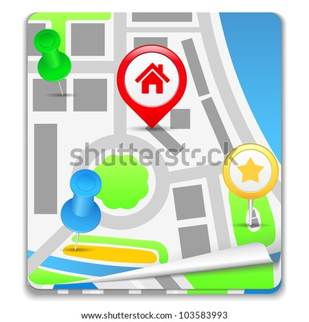 Map Icon, vector eps10 illustration - stock vector