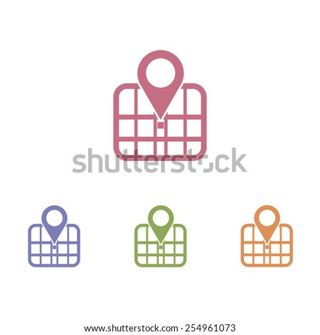 Map icons - stock vector