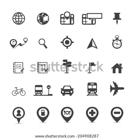 Map Icons and Location Icons  - stock vector