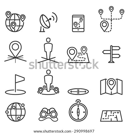 Map icons and location on terrain - stock vector