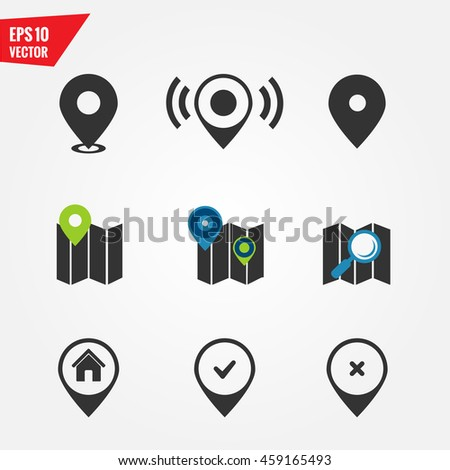 Map icons and pointers - stock vector