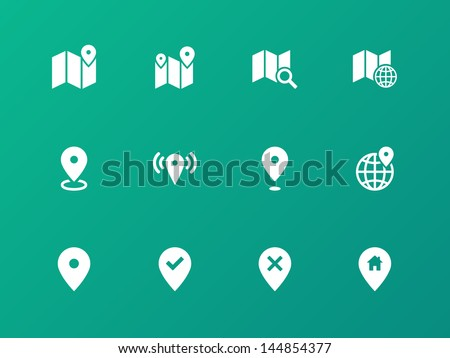 Map icons on green background. GPS and Navigation. Vector illustration. - stock vector