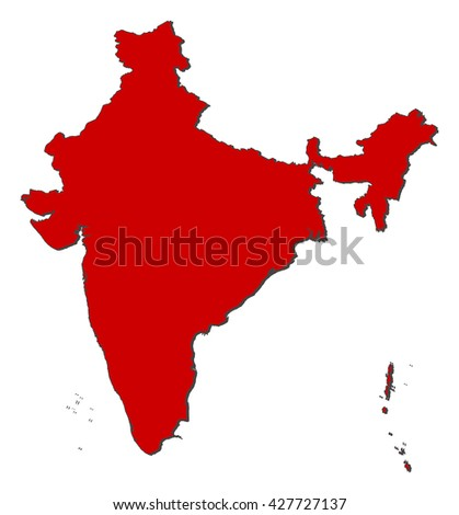 Map - India - stock vector