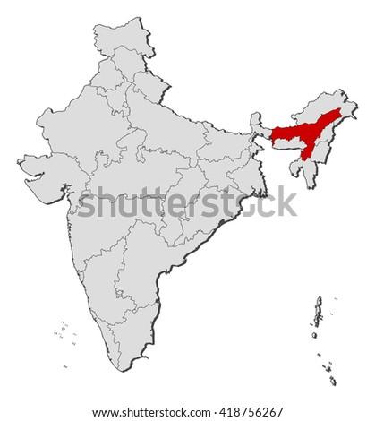 Map - India, Assam - stock vector