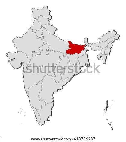 Map - India, Bihar - stock vector