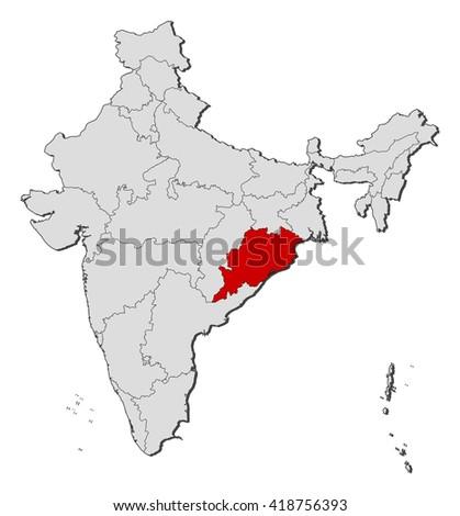 Map - India, Orissa - stock vector