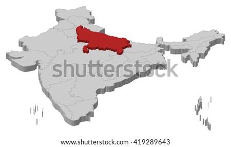 Map - India, Uttar Pradesh - 3D-Illustration - stock vector