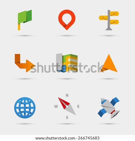 Map, location and navigation icons in flat paper style. Marker and pin, direction and pointer. Vector illustration - stock vector