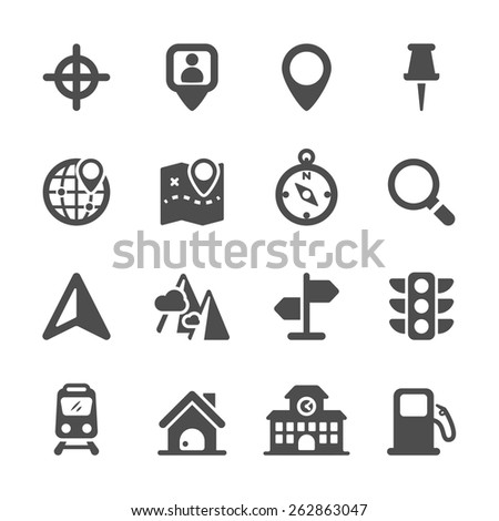 map location icon set, vector eps10. - stock vector
