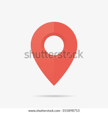 Map Marker Icon in Vector, Red Point - stock vector