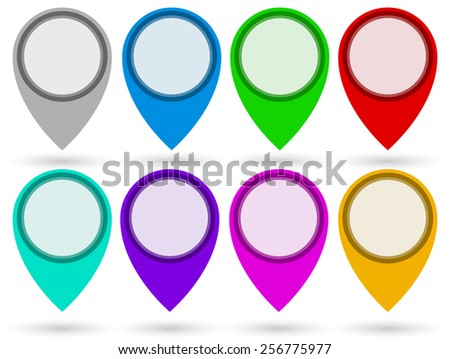 Map Marker, Location Marker, Map-Pin Set in 8 colors. - stock vector
