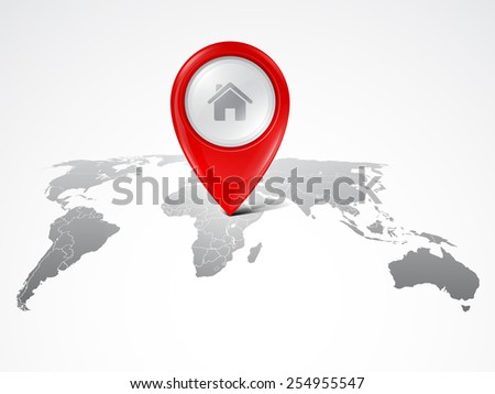 Map marker on the world map - stock vector