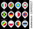 Map marker with flag-set seventh. In this set icons, I drawed these flags: Republic of the Congo, Bahrain, Burundi, Botswana, Palau, Togo, Jamaica, Norway, Cameroon, Italy, Poland, Germany - stock vector