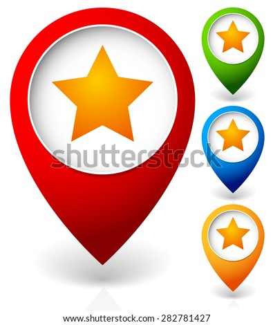 Map marker with star. Favorite place, location. Vector icon. - stock vector