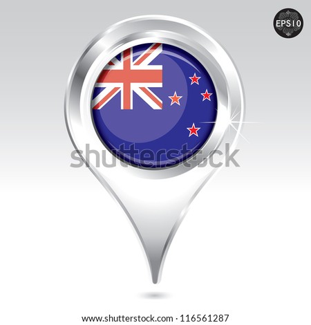Map markers with Flag, vector eps10 illustration - stock vector