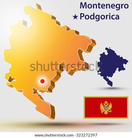 Map Montenegro. Vector silhouette of Montenegro and the flag. The country's capital - Podgorica - stock vector