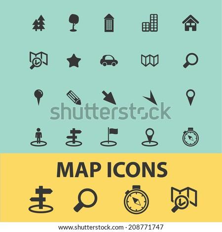 map, navigation, route black flat icons, signs, symbols set, vector - stock vector