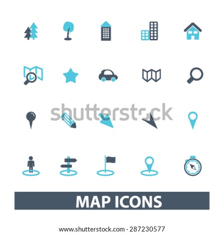 map, navigation, route icons, signs, illustrations set, vector - stock vector