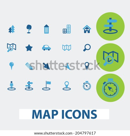 map, navigation, route vector set of colorful flat icons, signs, design elements for mobile and web applications. - stock vector