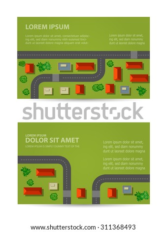 Map of a top view from the rooftops, city streets, trees and highways - stock vector