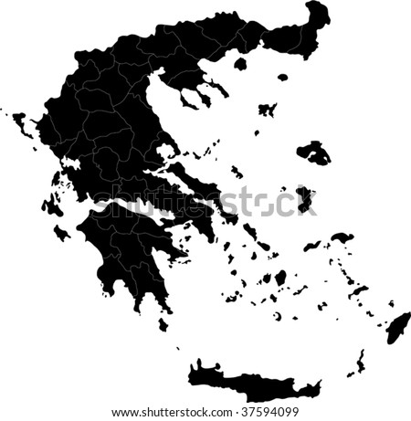 Map of administrative divisions of Greece - stock vector