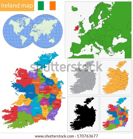 Map of administrative divisions of Ireland - stock vector