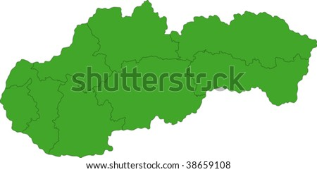 Map of administrative divisions of Slovakia - stock vector