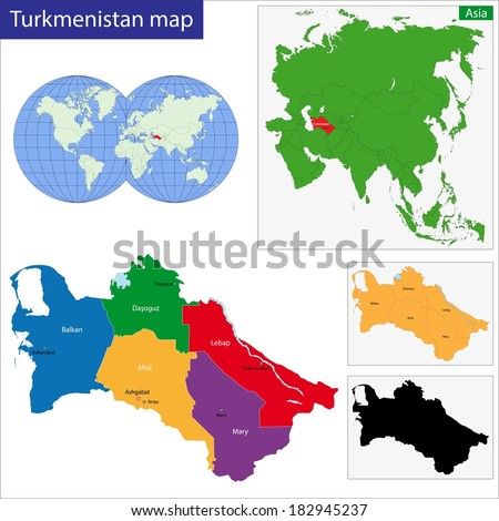 Map of administrative divisions of Turkmenistan - stock vector