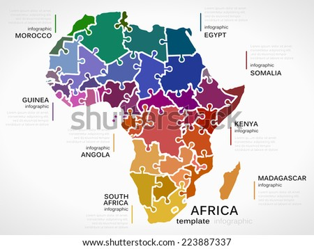 Map of Africa concept template with countries made out of puzzle pieces - stock vector