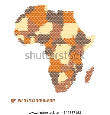 Map of Africa from Triangles - Vector Illustration - Infographic Element - stock vector