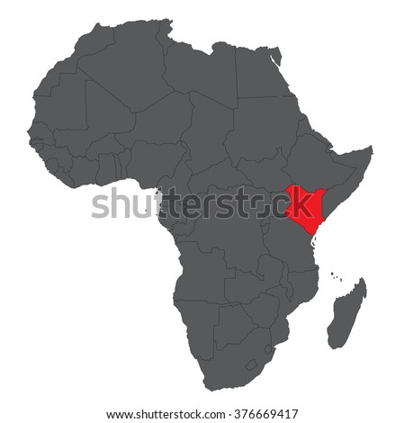 Map of Africa on gray with red Kenya vector - stock vector
