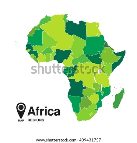 map of Africa. Regions of Africa - stock vector