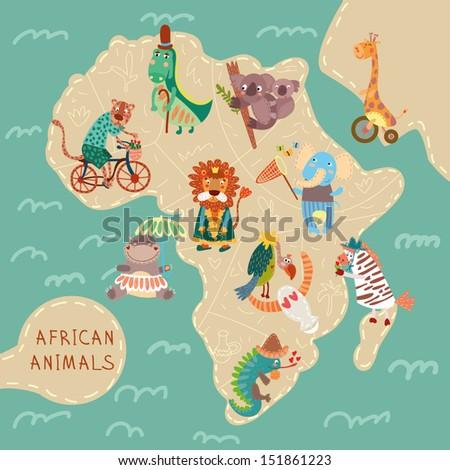 Map of Africa with cute animals in vector. African animals set: jaguar, giraffe, hippopotamus, iguana, zebra, lion, crocodile, koala, elephant, vulture - stock vector