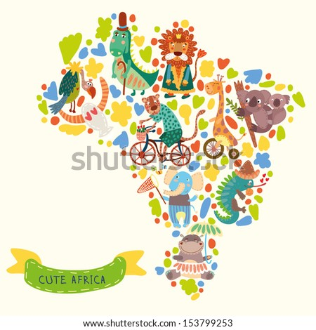 Map of Africa with  wild animals from Africa.iguana, giraffe, hippo, elephant, crocodile,jaguar, lion, koala,vulture - stock vector