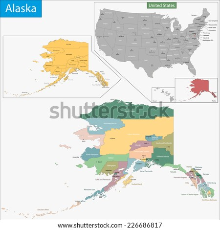 Map of Alaska state designed in illustration with the counties and the county seats - stock vector