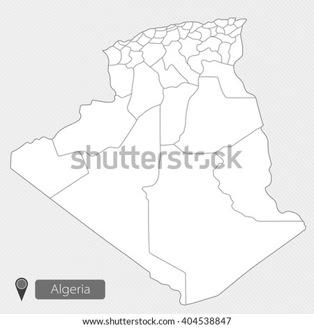 Map of Algeria, Africa. Administrative division. Illustration on white background - stock vector