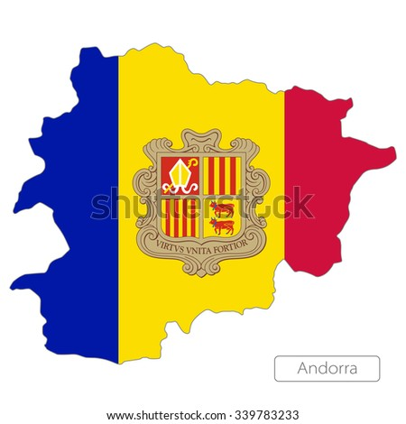 map of Andorra with the flag. Europe  - stock vector