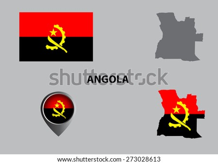 Map of Angola and symbol - stock vector