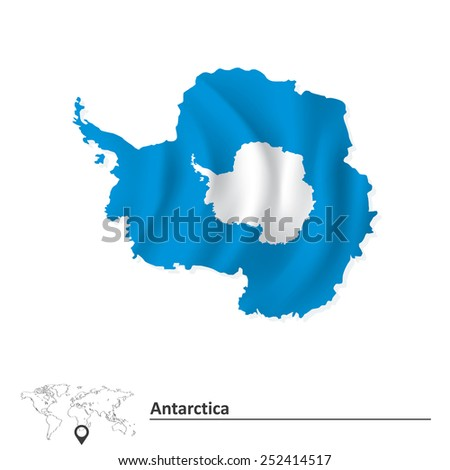 Map of Antarctica with flag - vector illustration - stock vector