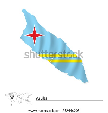 Map of Aruba with flag - vector illustration - stock vector